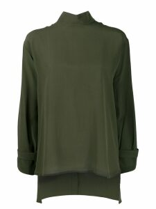 Jejia silk stand up collar blouse - Green