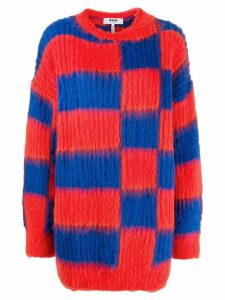 MSGM oversized checked jumper - Red
