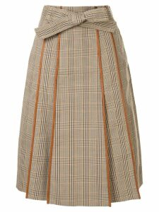 Tory Burch plaid print pleated skirt - Brown