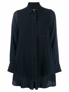Alberto Biani crepe-panelled satin shirt - Blue
