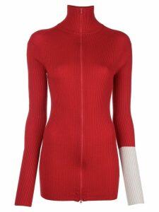 Yohji Yamamoto zipped knitted sweater - Red
