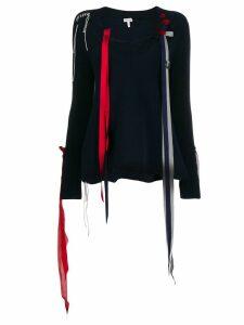 Loewe ribbon detail v-neck jumper - Blue