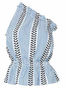 lemlem patterned one shoulder top - Blue