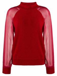 Federica Tosi funnel-neck contrast sweater - Red
