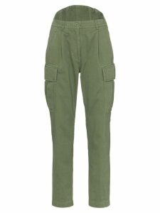pushBUTTON tapered cargo trousers - Green