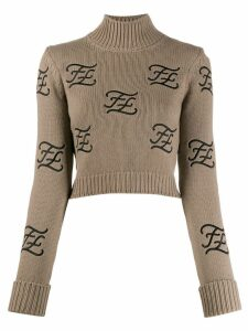 Fendi embroidered logo high neck jumper - NEUTRALS