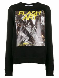 MSGM Flash Art print oversized sweater - Black