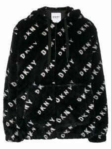 DKNY faux fur logo hoodie - Black