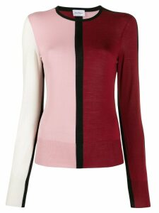 Salvatore Ferragamo colour block fine knit jumper - Red
