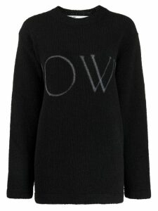 Off-White logo ribbed crew neck jumper - Black