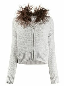 Fabiana Filippi feather-embellished cardigan - Grey
