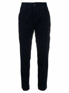 Closed slim-fit corduroy trousers - Blue