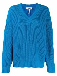 MSGM knitted v-neck jumper - Blue