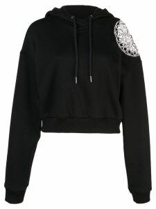Area cropped long sleeved hoodie - Black