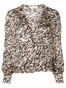 Fleur Du Mal tiger print wrap blouse - Brown
