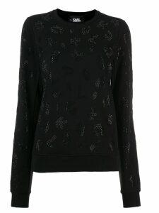 Karl Lagerfeld rhinestones branded sweatshirt - Black