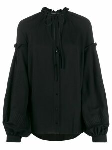 Wandering tie neck buttoned blouse - Black