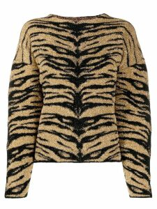Laneus tiger-print jumper - GOLD