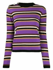 GANNI slim fit striped jumper - PURPLE