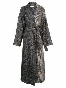 Oscar de la Renta mixed check belted coat - Black