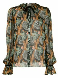 Temperley London Maggie leaf print shirt - Black