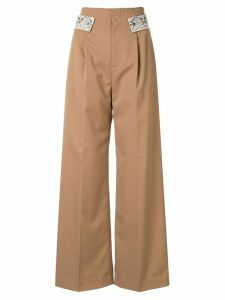 Comme Moi snake detail trousers - Brown