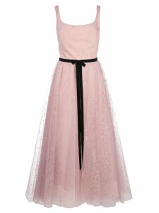 Marchesa Notte glitter tulle tea length dress - PINK