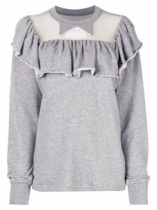 pushBUTTON sheer panel sweatshirt - Grey