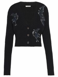 Miu Miu sequin embroidered V-neck cardigan - Black