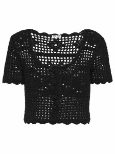 Miu Miu cropped crochet cardigan - Black