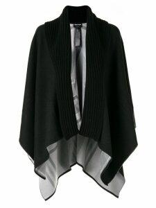 Giorgio Armani oversized ribbed collar poncho - Black