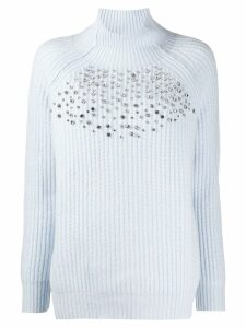 be blumarine embellished knit sweater - Blue