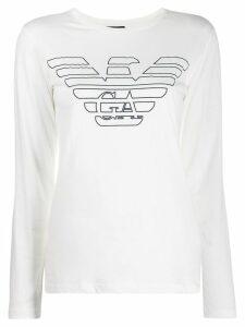 Emporio Armani logo long sleeve T-shirt - White