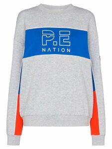 P.E Nation Sonic stripe jersey jumper - Grey