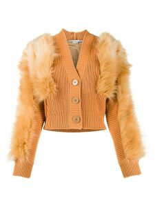Stella McCartney Fur Free Fur-trim cardigan - Brown