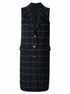 CK Calvin Klein check double weave long coat - Blue