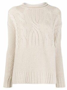 Agnona contrast knit jumper - NEUTRALS
