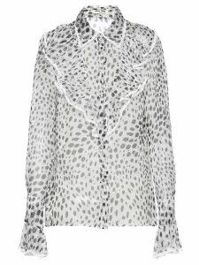 Miu Miu dalmatian print sheer blouse - White