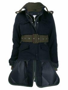 Sacai panelled utility military jacket - Blue