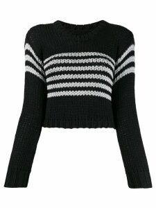 RtA cropped striped sweater - Black