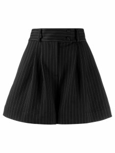 Styland pinstripe wide leg shorts - Black