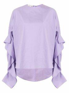 Delpozo ruffle trim poplin shirt - PURPLE