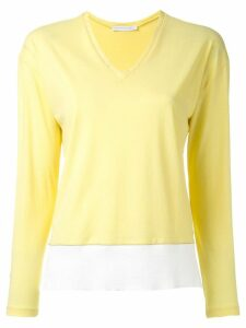 Fabiana Filippi V neck contrast sweatshirt - Yellow