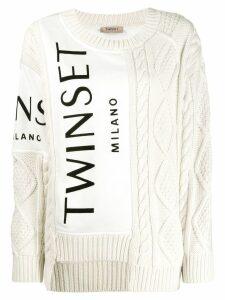 Twin-Set contrast knit jumper - White