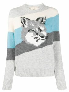 Maison Kitsuné Fox striped knit sweater - Grey