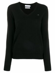 Calvin Klein v-neck knit sweater - Black