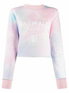 Balmain logo print tie-dye sweatshirt - NEUTRALS