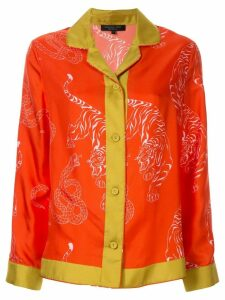 Shanghai Tang tiger & snake print shirt - ORANGE
