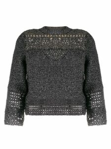 Alberta Ferretti cropped sleeve sweater - SILVER