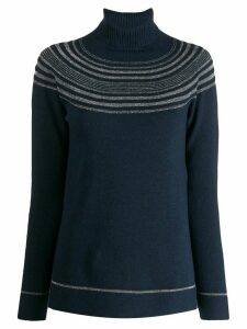 D.Exterior metallic striped roll neck jumper - Blue